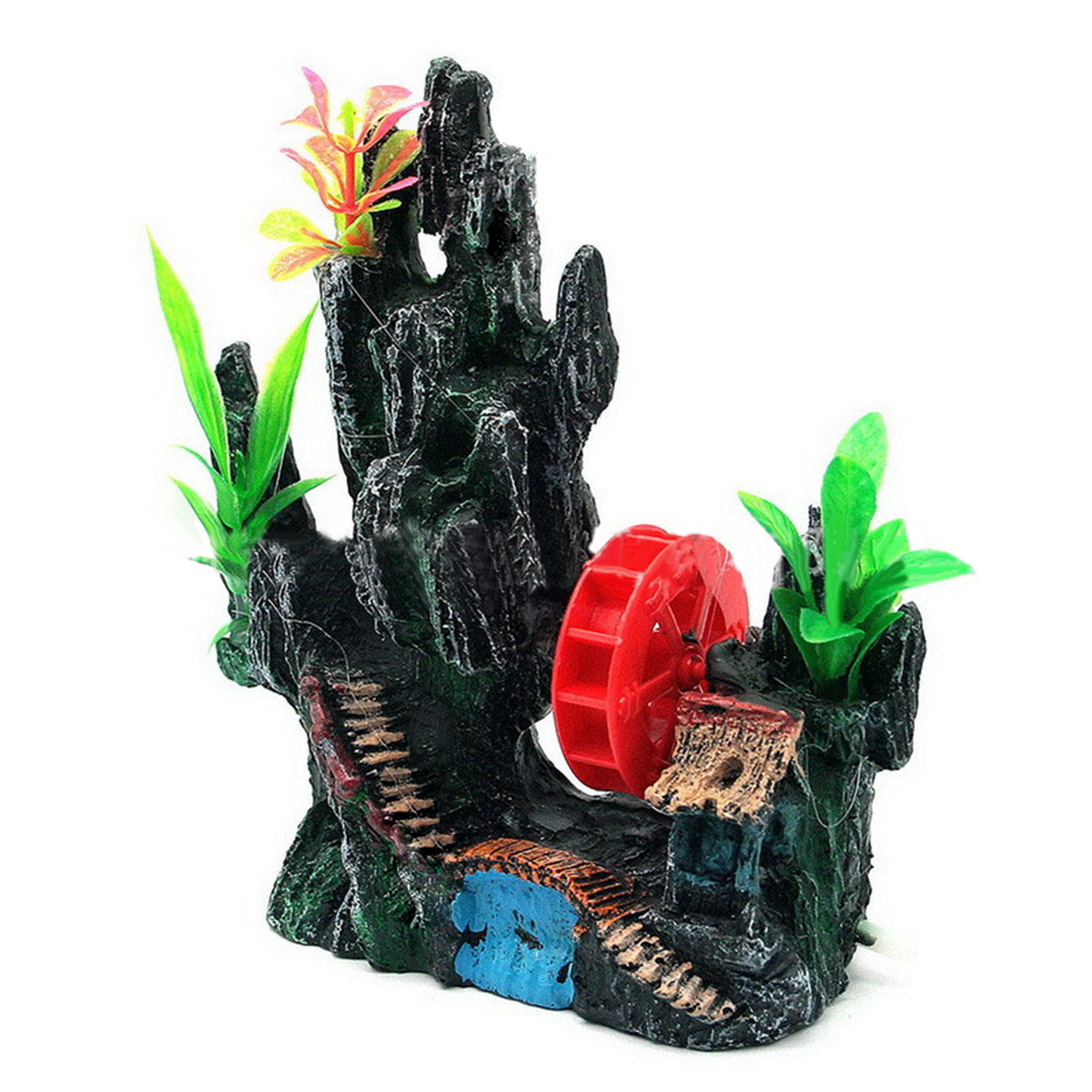 Fish tank decorations zombie - Aquarium Ornament Mountain View Rockery Cave Windmill Fish Tank Decor Home