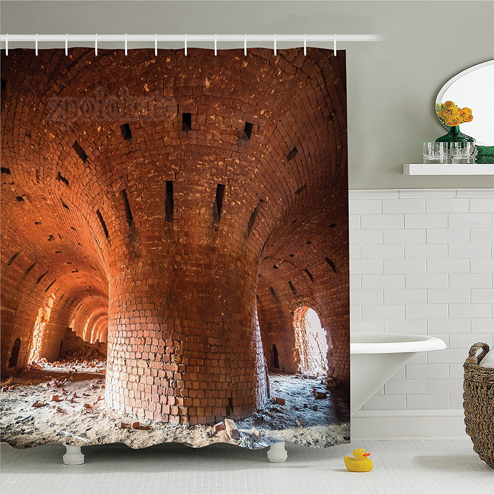Industrial Decor Shower Curtain Set Wide Angle View Of An Old Wall Abandoned Brick Factory Building Development In Science