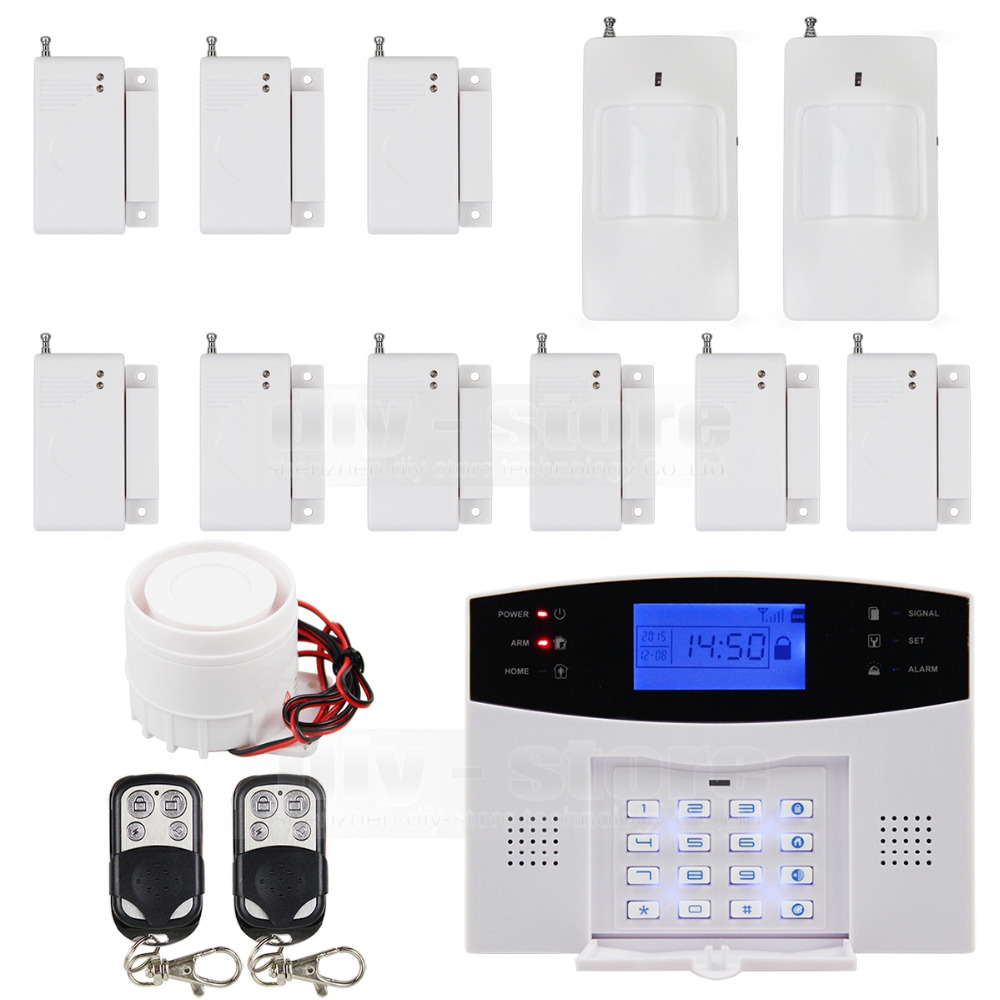 DIYSECUR Wireless&Wired GSM Home Security Burglar Alarm System with SOS Intercom wireless smoke fire detector for wireless for touch keypad panel wifi gsm home security burglar voice alarm system