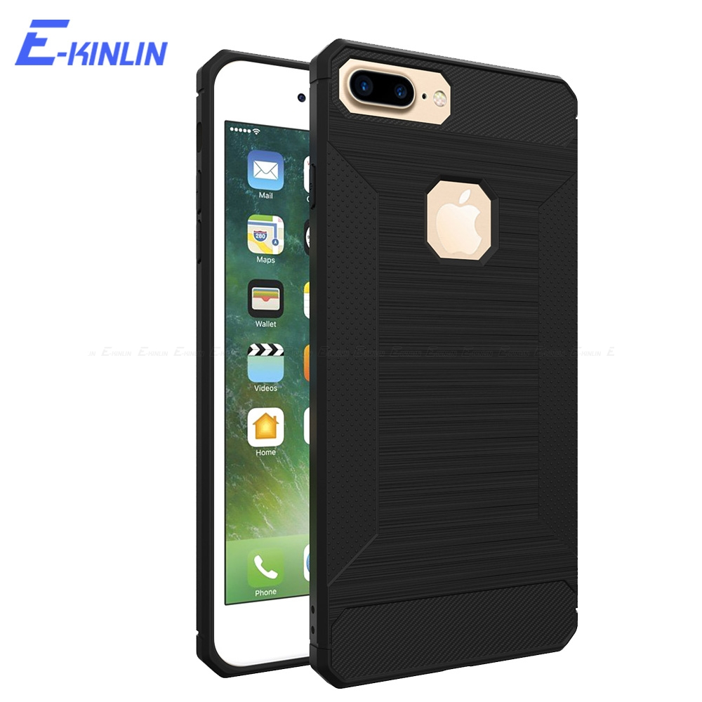 Heavy Shockproof Back Cover For iPhone 8 7 6 6S Plus 5 5S SE X Ten 10 Soft TPU Brushed Carbon Fiber Anti-Knock Case