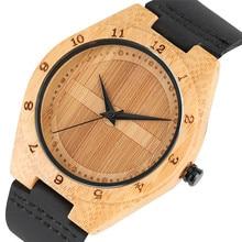 New Arrival Creative Handmade Wooden Watch Nature Bamboo Quartz Genuine Leather Band Strap Wrist Watch Men Gift relogio masculin