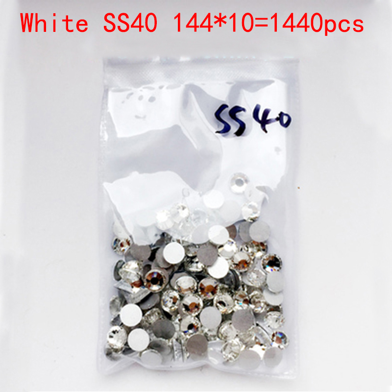 Wholesale Rhinestones New White ss40 1440pcs 8.6mm Crystal Color Non Hotfix Rhinestones For Nails Flatback Nail Art Decorations 2016 new arrive resin diy rhinestones for nail art 2 6mm white ab color nail design glitter decorations flatback non hotfix