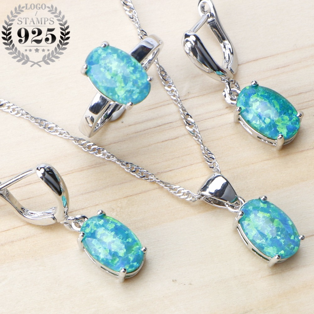 925 Sterling Silver Wedding Jewelry Sets Australia Egg Opal Earrings For Women Bridal Jewelry Pendant Necklace Ring Set Gift Box