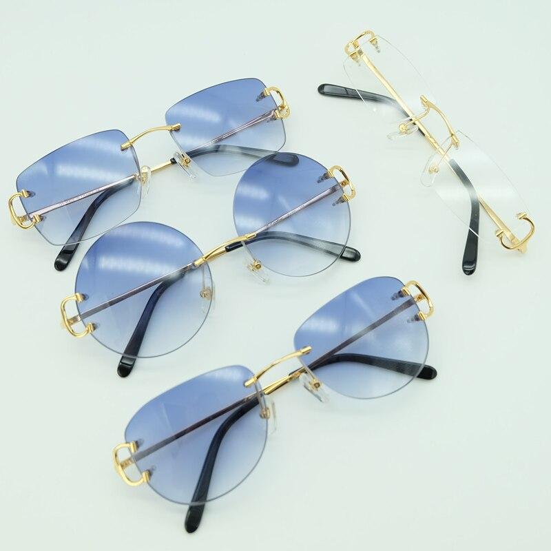 Lunettes de soleil rondes en métal sans monture lunettes de soleil ovales carrées lunettes de soleil de luxe pour hommes 2018 Carter lunettes de soleil marque Desinger ombre pour hommes