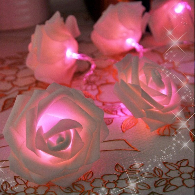Rose Flower Light String Christmas Holiday String Lights For Valentine Wedding Decoration 20 Led Lamp Battery Operated Led Led String