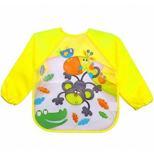 Waterproof Baby Feeding Bibs Long Sleeve Burp Cloths Toddler Boys Girls Smock Bibs Apron Eating Protector Cartoon Painting D45(China)