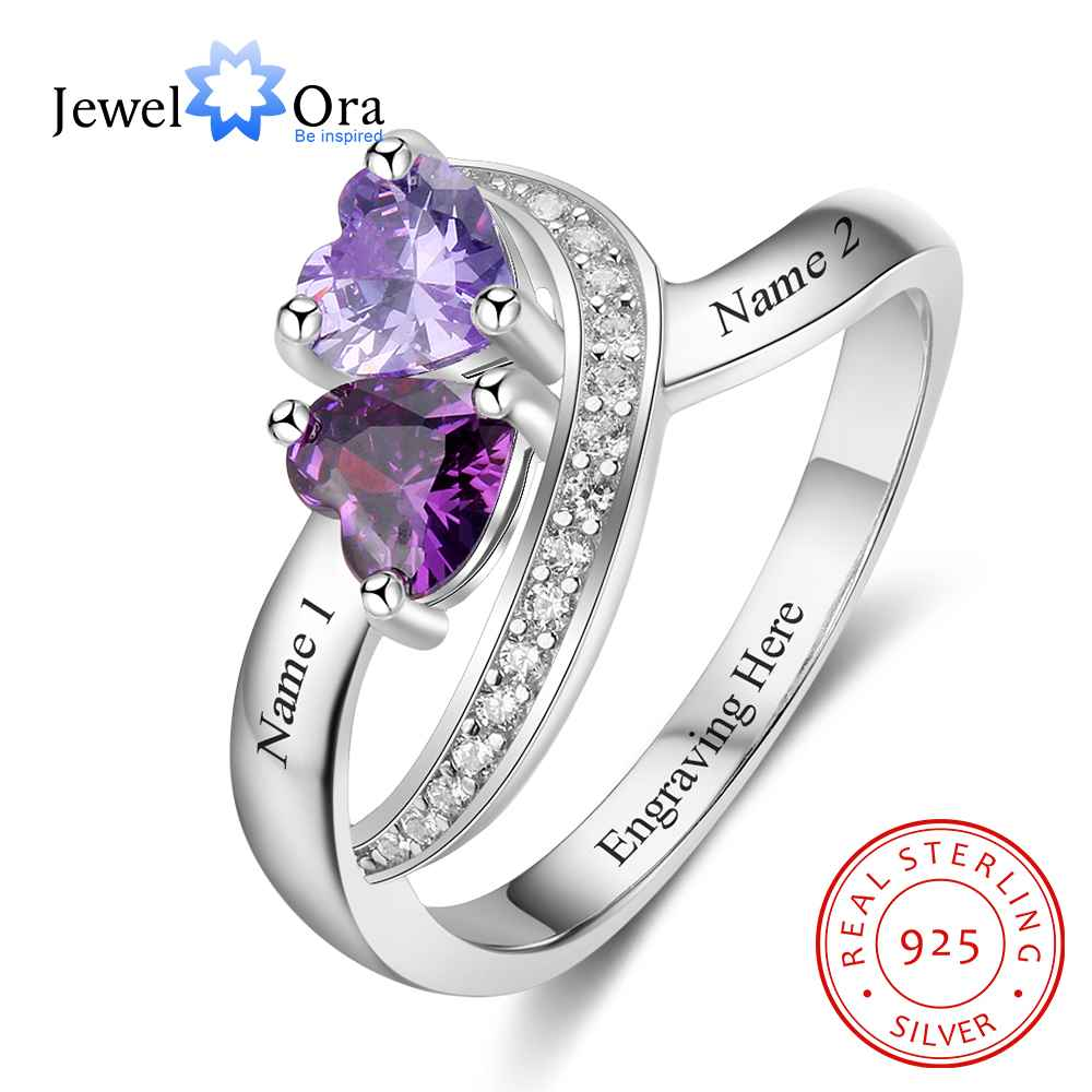 personalized heart birthstone custom engrave 2 names promise ring love 925 sterling silver anniversary gift jewelora ri103269 Personalized Promise Ring Heart Birthstone Custom Engrave 2 Names 925 Sterling Silver Anniversary Gift (JewelOra RI103268)
