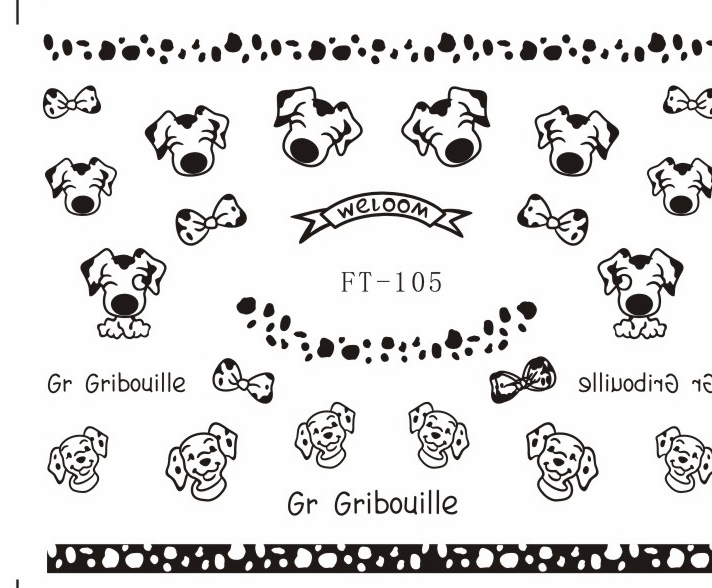 3D Easy-Stick Back Adhesive Nails Art Sticker decals BLACK SWEET HEART STAR DOG HEAD POKER FT103K-108K