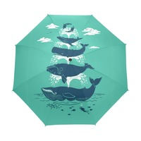Cool Sharks Custom Portable Folding Travel Design Rain and Sun Beach Umbrellas Hat Unique Parasol Automatic Children Umbrella