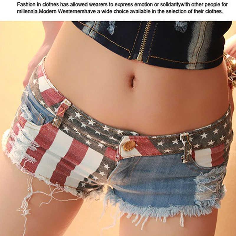 سراويل نسائية جينز ماركة شورت صيفي قصير مثير بعلم الولايات المتحدة الأمريكية مطبوع حفرة مدمرة غنيمة دينم شورت نسائي قصير حجم كبير