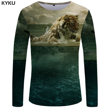 KYKU Kaplan T gömlek Erkekler Uzun kollu gömlek Hayvan Kaya Balık Tee Bulut Anime Okyanus 3d T-shirt Serin erkek giyim Moda erkek