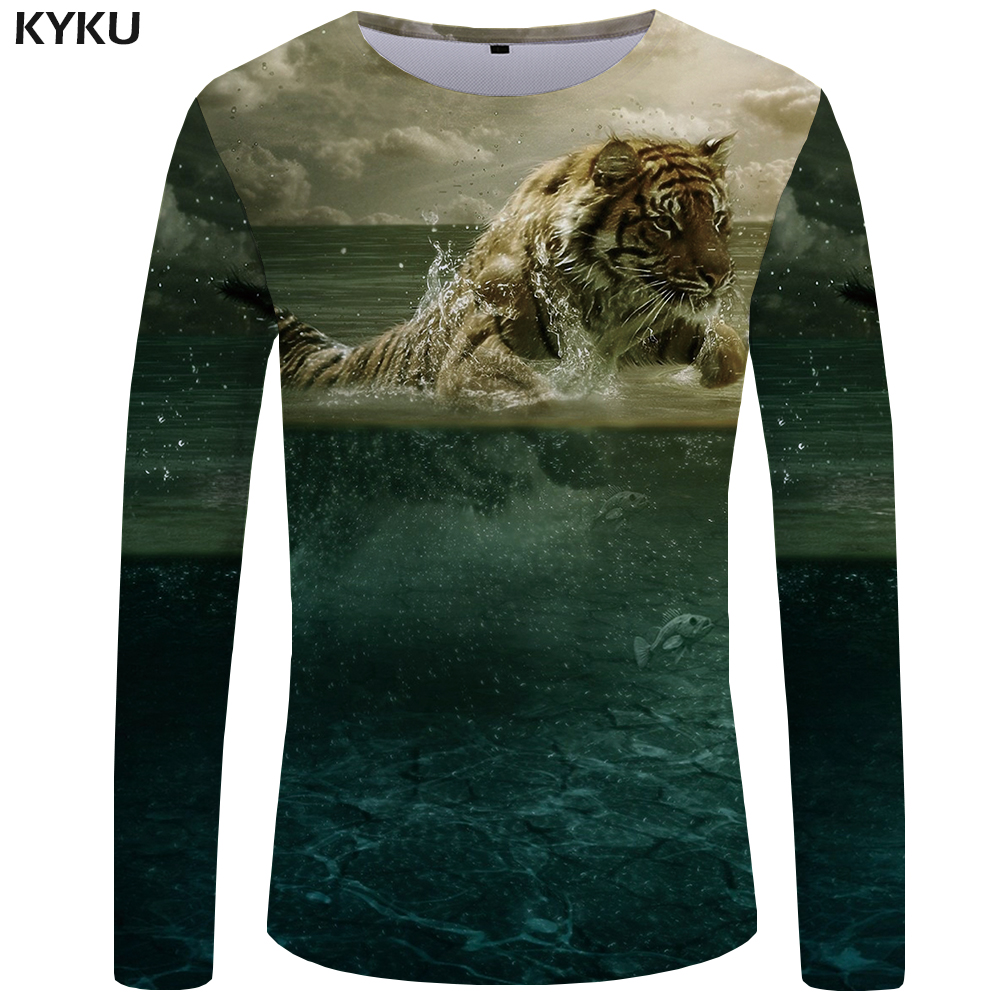 KYKU Tiger T shirt Men Long sleeve shirt Animal Rock Fish Tee Cloud Anime Ocean 3d T-shirt Cool Mens Clothing Fashion Male