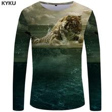 KYKU Tiger T shirt Men Long sleeve Animal Rock Fish Tee Cloud Anime Ocean 3d T-shirt Cool Mens Clothing Fashion Male
