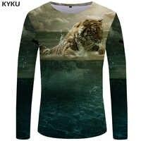 KYKU tygrys T koszula mężczyzna koszula z długim rękawem zwierząt Rock ryby Tee chmura Anime Ocean 3d koszulka fajne męskie ubrania moda mężczyzna