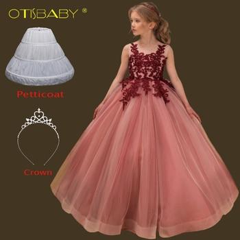 c868e4200 Fiesta para niños sin mangas de encaje vestido de noche largo niñas  graduación comunión vestidos de edad 7 8 9 10 11 12 13 14 15 años