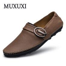 MUXUXI Мужчины oxfords обувь Ручной Работы корова кожаные ботинки Новое Прибытие Удобная Повседневная Обувь плюс размер 35 ~ 50