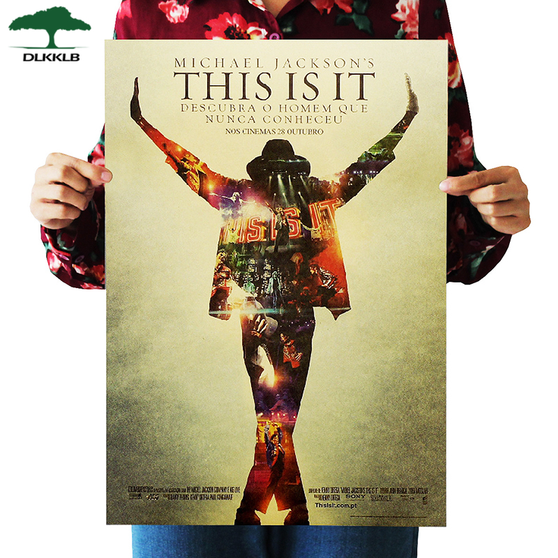 Dlkklb This Is It Michael Jackson Poster Movie Kraft Paper Wall Stickers Poster Retro Kraft Paper Decorative Paintings 50x35cm