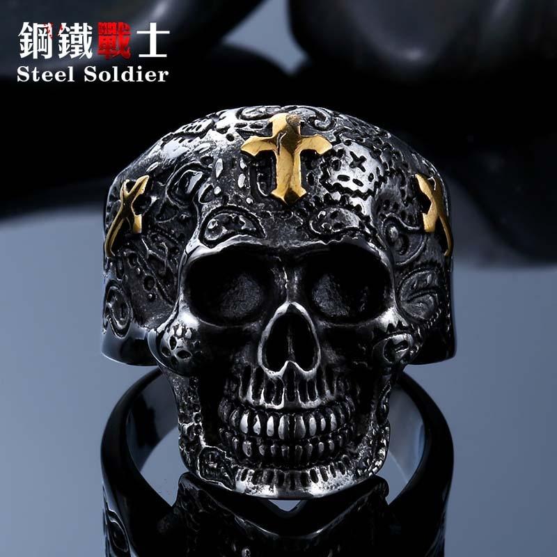 Ushtarak çeliku, kafkë unazë, punk unazë, punk unazë, retro - Bizhuteri të modës - Foto 3