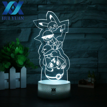 HUI YUAN Multiple Pets 3D Lamp LED NightLight Lamp Decorative Table Lamp design by New Pokemon Crystal For Christmas Child Gift