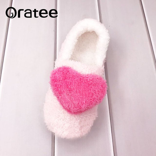 b9e858867121 New Indoor Slipper Heart Shaped Soft Plush Home Shoes Cute Women Flat Flip  Flops Soft Floor Autumn Winter Slippers