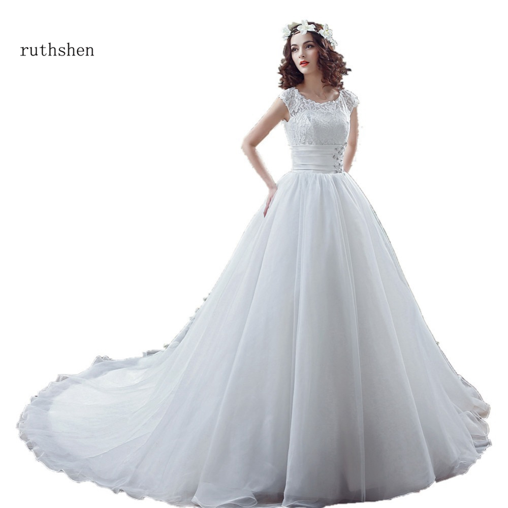 Robe De Mariage 2018 Real Sample Wedding Dresses Cheap Short Sleeves Lace Top Ruched Ball Gown Bridal Gowns Vestidos De Novia