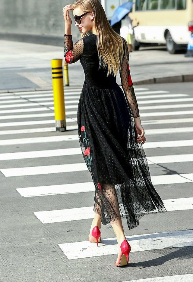 Long Sleeve Sexy Mesh Carnation Embroidery Slim Black Long Dress 3