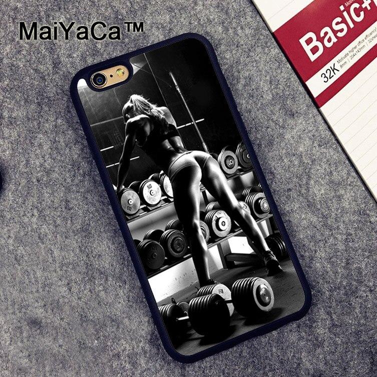 MaiYaCa Gym Fitness Girl Sexy Printed Phone Case for iPhone 6 6s Capa Fundas Case For iphone 6s Back Shell Cover