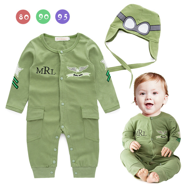 Infant Pilot costume baby little boys air force captain green long sleeve romper with hat baby jumpsuits H502