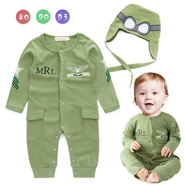 Infantil traje Piloto meninos capitão da força aérea verde de manga longa romper do bebê com chapéu do bebê macacões H502
