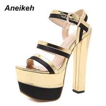78681a6d3e5 Aneikeh 2018 nuevos zapatos de mujer Sandalias zapatos de baile de tubo de  acero Super tacón alto 16 cm Peep Toe suelas gruesas .