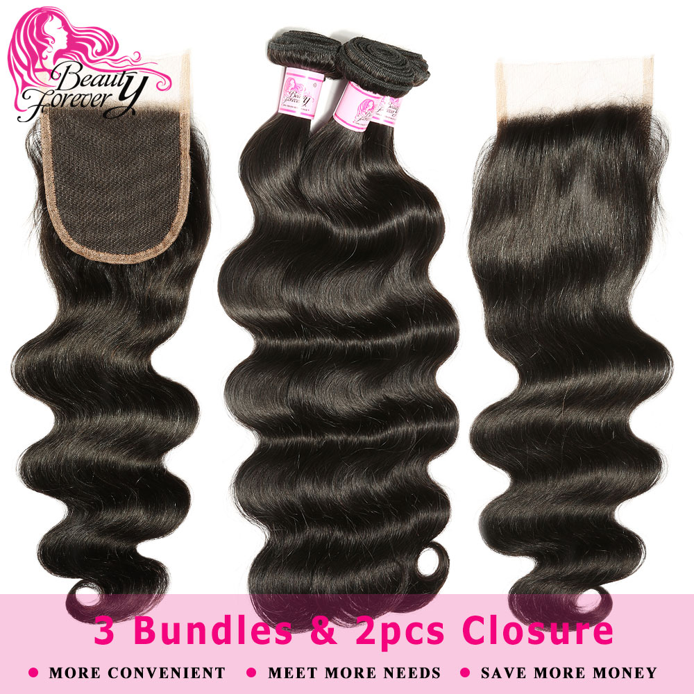 Beauty Forever 3 Bundles Body Wave Hair Weaves With 2pcs Closures 4*4 Remy Peruvian Human Hair Bundles With Closure(China)