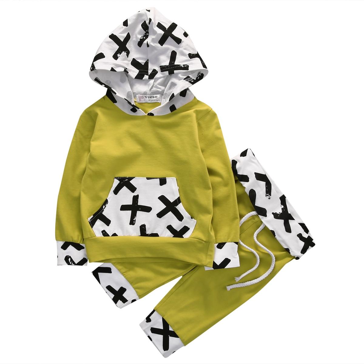 2PCS Kid Baby Boys Sweatshirt Pullover Hooded Coat T-Shirt+Long Pants Cross Yellow Set Clothes Outfit