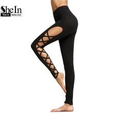 Sexy Legging Womens Black Cut Out Lattice Detail High Waist