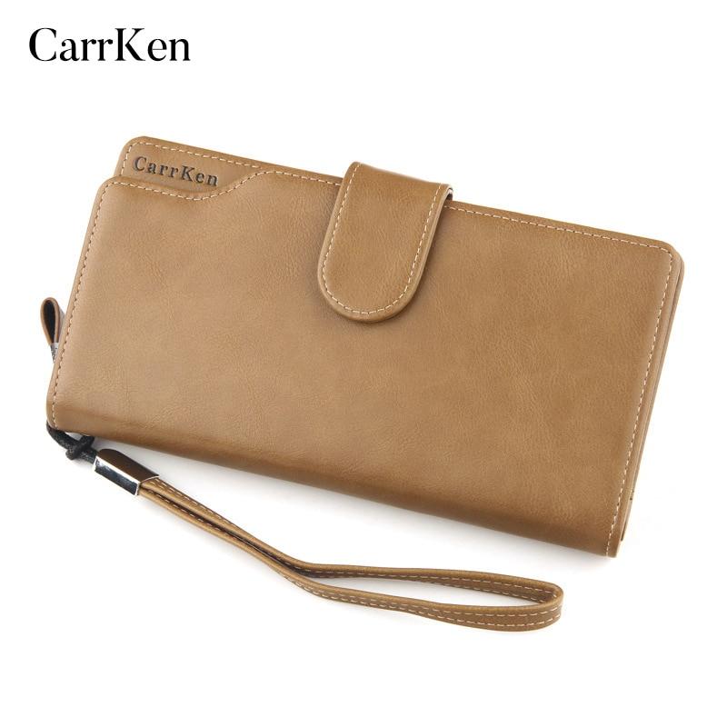 CarrKen Card Leather Wallet Men Long Design Quality Passport Cover Fashion Casual Mens Purse Zipper Multi-Function Coin Purse