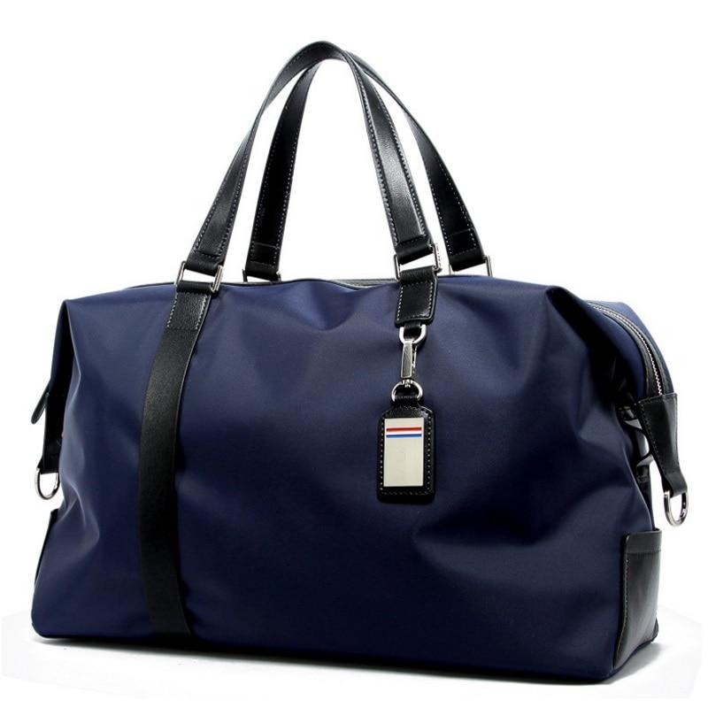 все цены на Men Waterproof Luggage Bag Large Capacity Male Big Weekend Bag Travel Duffle Tote Nylon Shoulder Bags Overnight Bag Man Handbag онлайн