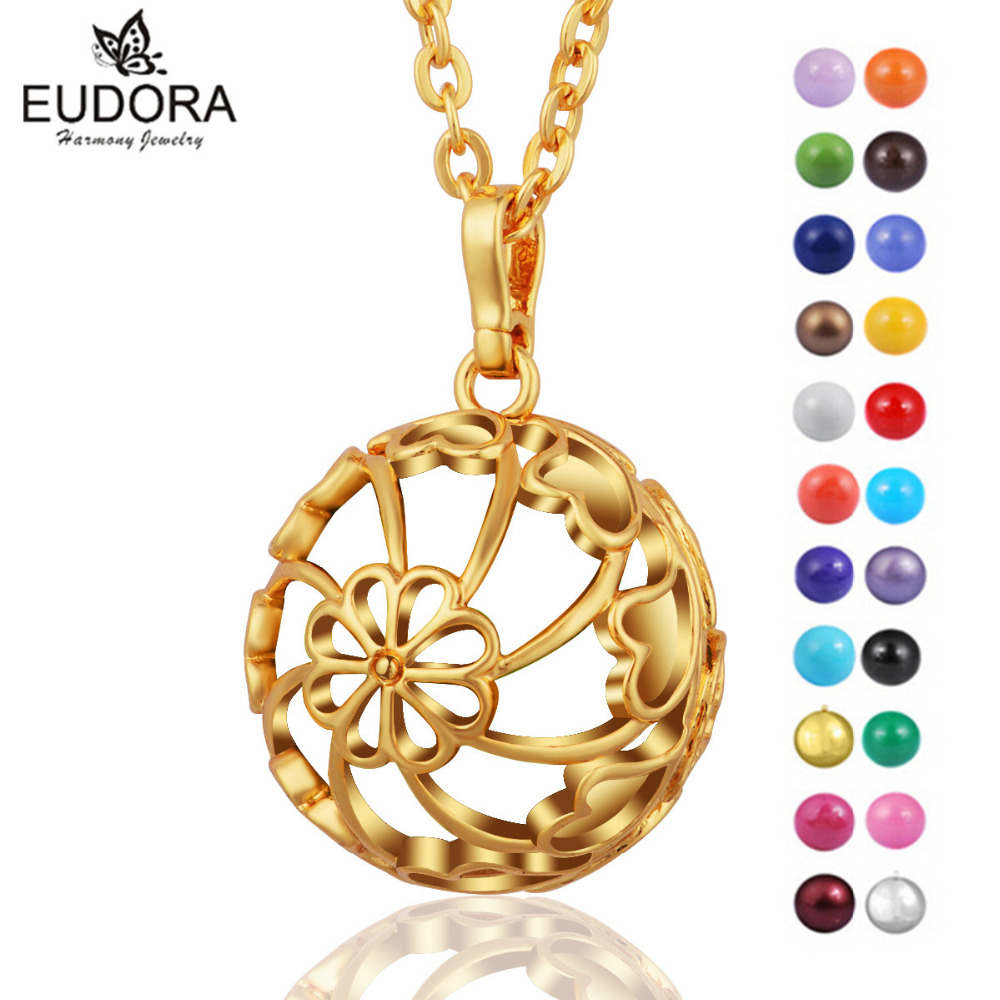 Angel Caller Pregnancy Hollow Gold Color Locket Cage Pendant Necklace With Wishing Harmony Bola Chime Bell Pregnant Women Gift