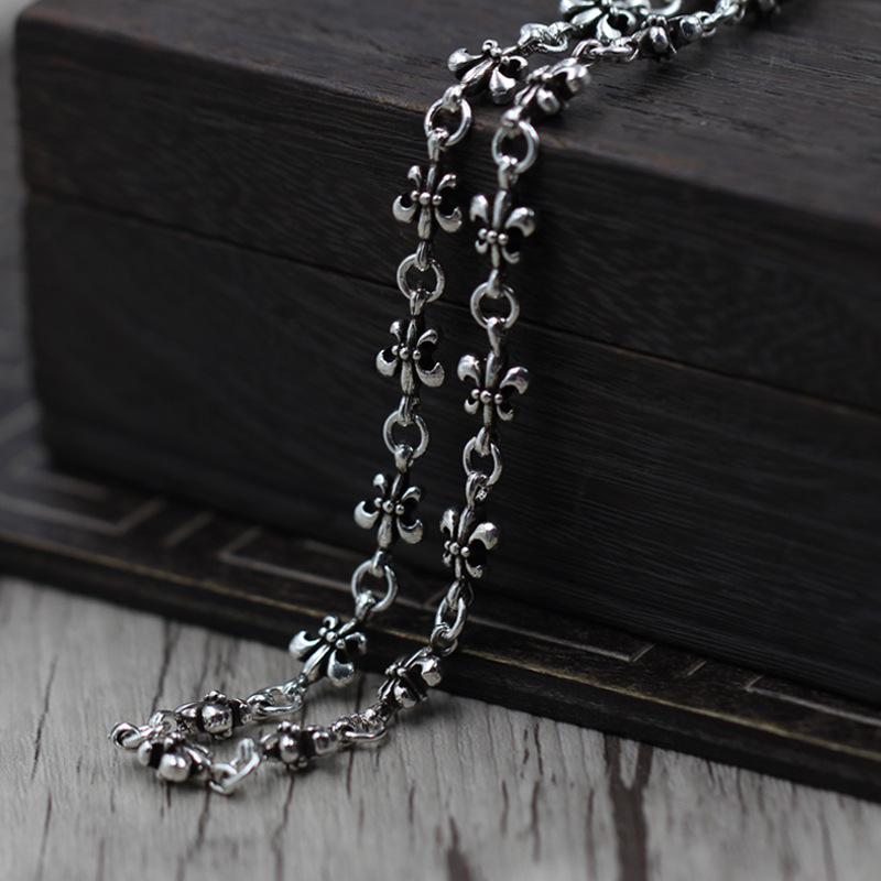 цена на Sterling Silver 925 To Create Personality To Boat Anchor Necklace Thai Silver Vintage Punk Wind Sweater Chain Price