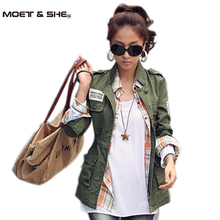 SM,L  Spring Autumn Women Embroidery Military Army Green Jacket Drawstring Patchwork Foldable Coat casacos femininos C47001
