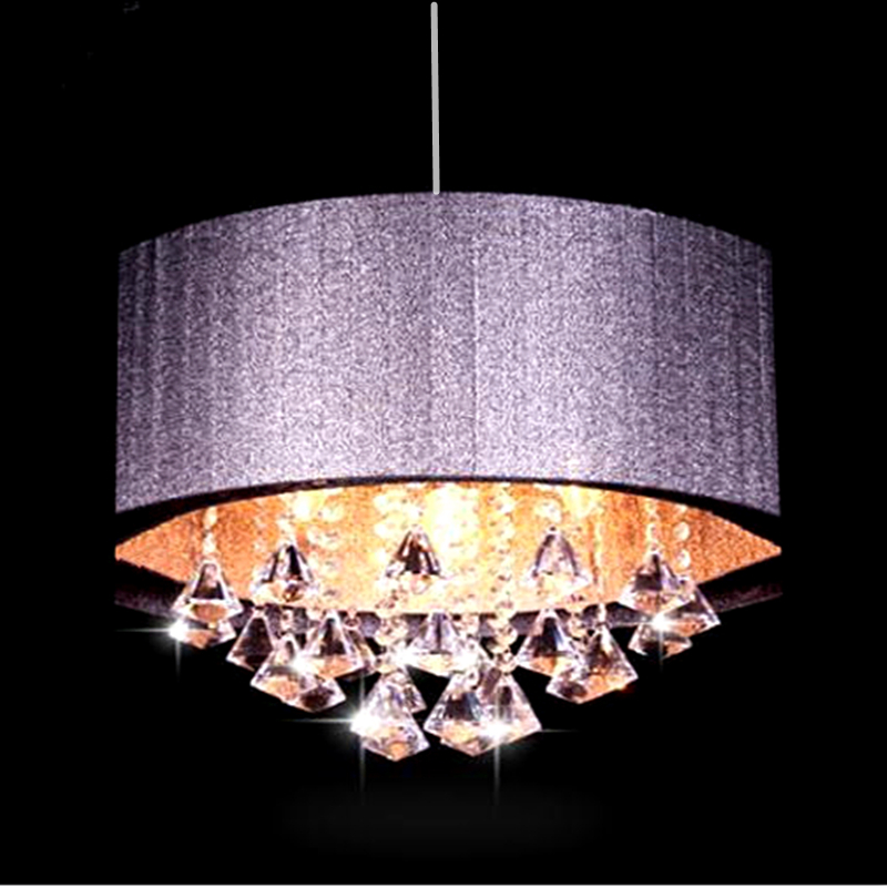 Modern oval chandelier living room study room led lustre light Brushed fabric lampshade k9 crystal luminaria