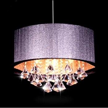 Modern oval chandelier living room study led lustre light Brushed fabric lampshade k9 crystal luminaria free deliver