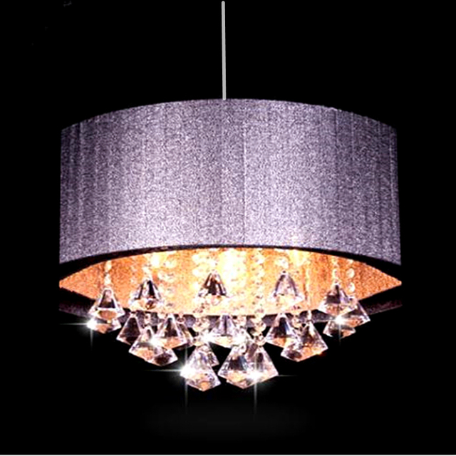 Modern Oval Chandelier Living Room Study Led Lustre Light Brushed Fabric Lampshade K9 Crystal Luminaria