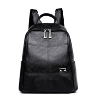 Fashion Female Backpack Portable Shoulder Small Monster Embellished Large Capacity Simple Casual Cart Stitching Soft Leather Bag