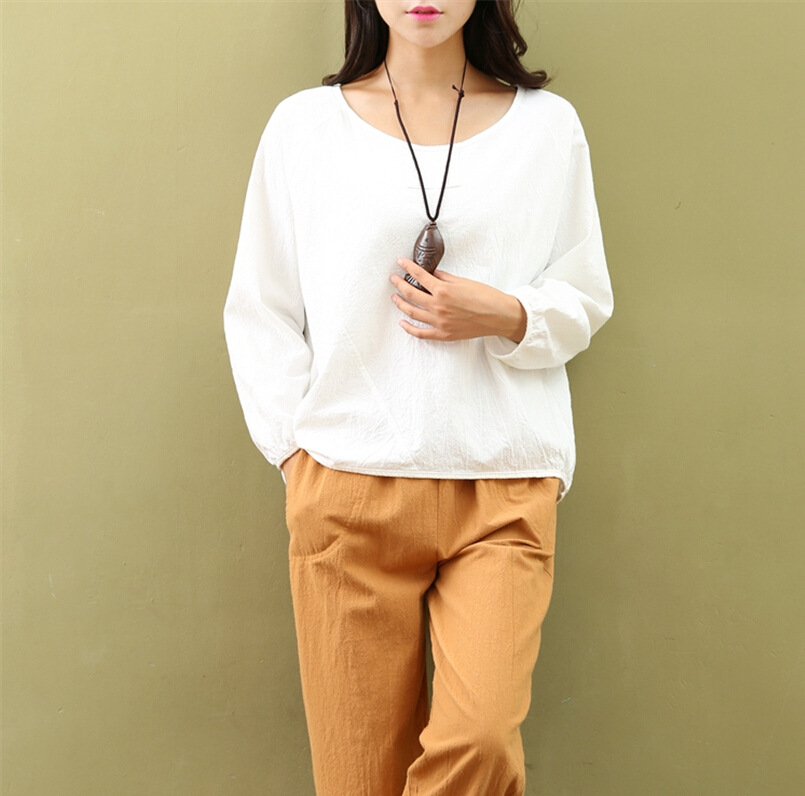 Autumn new style women font b blouse b font mori girl Soft cotton white font b