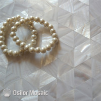 Biały kolor trójkąt wzór 100% Chiński słodkowodna shell masa perłowa płytki ścienne płytki do dekoracji wnętrz domu