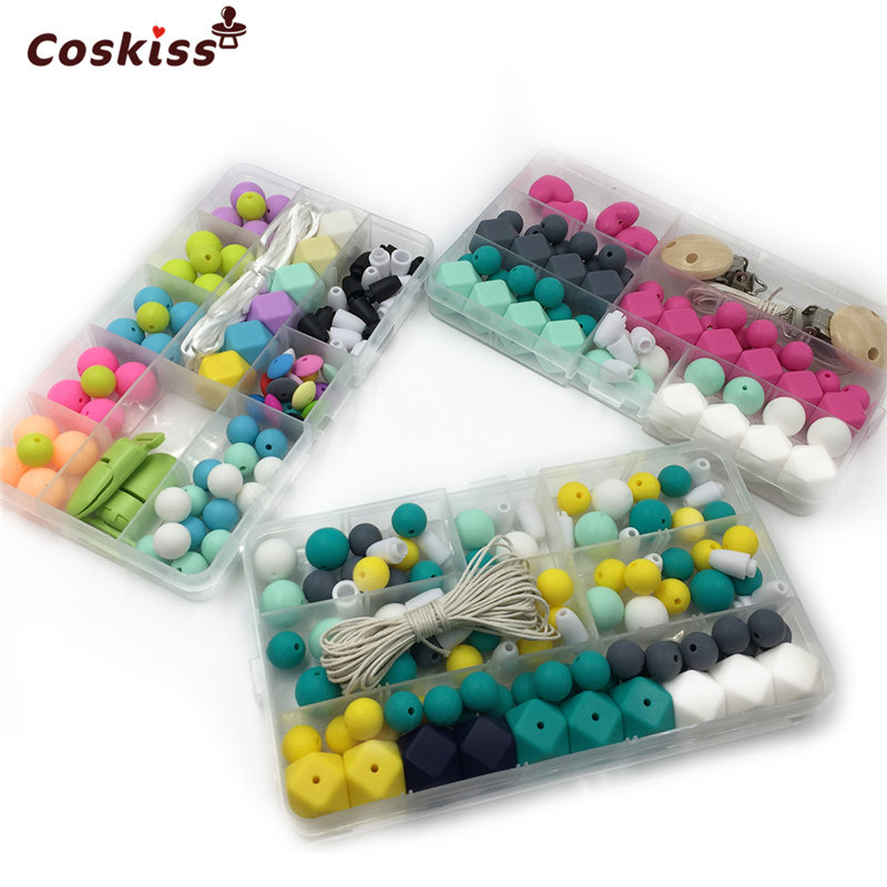 3 box Baby Teether Pacifier Clip Mix Color Geometry Hexagon Silicone Bead Silicone Round Bead Abacus Bead Breakaway Safety Clasp