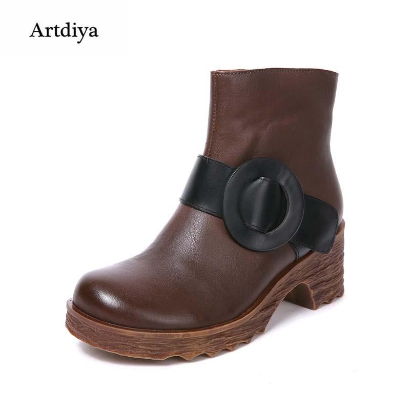 Artidya 2018 New Head Layer Cowhide Boots Thick Belt Buckle High Heels Retro Handmade Genuine Leather Women Boots FHC678-1Artidya 2018 New Head Layer Cowhide Boots Thick Belt Buckle High Heels Retro Handmade Genuine Leather Women Boots FHC678-1