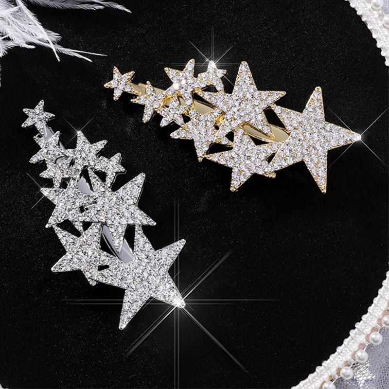 Luxury Hyperbole Full Zirzon Five-pointed Star Hairpin Fashion Flash Rhinestone Stars Side Clip Girls Duckbill Women   Headwear