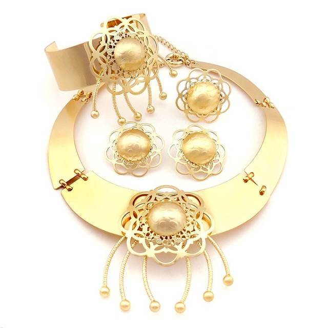 New Arrival 18 Carat Gold Necklace Jewelry Sets 1 Gram Gold Jewellery Sets Fashion Trendy Custome Jewellery Sets