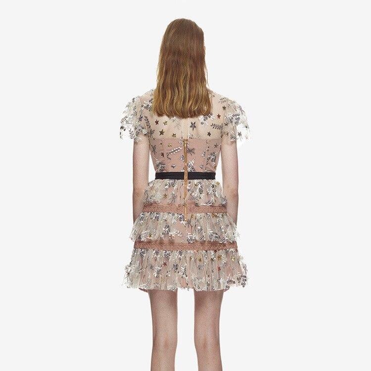 2018 Même Sp New Robe Étoiles Mince Rond Manches Courtes See Lâche F0450 D'été Nouveau Broderie Fil Chart Col 5W7qxnrqSH