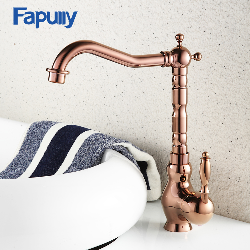 Fapully European Style Bathroom Sink Faucet Single Hole Rose Gold Polish Basin Mixer Tap Water Mixer Tap Faucets european gold polish
